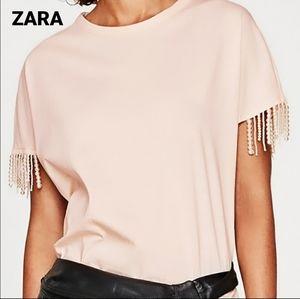 ZARA pearl sleeve blush pink tee shirt medium